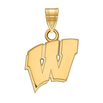 LogoArt 10k Gold Wisconsin Badgers Pendant