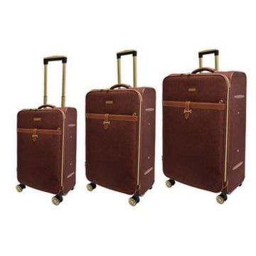 Adrienne Vittadini Two-Tone 3-Piece Softsided Spinner Luggage Set in Brown