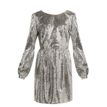 Saloni - Camille Sequinned Mini Dress - Womens - Silver