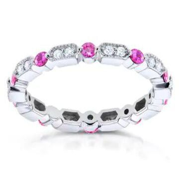 Annello by Kobelli 14k White Gold 2/5ct TCW Pink Sapphire and 1/5ct TDW Diamond Milgrain Eternity Ring (9)