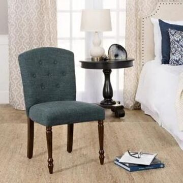HomePop Delilah Button Tufted Dining Chair-Deep Teal-Single (Teal)