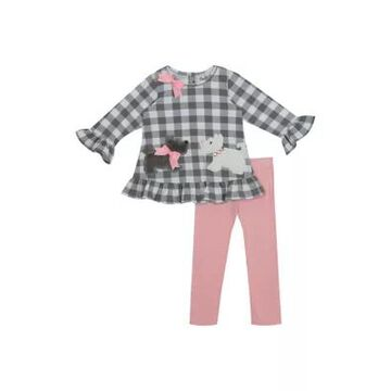 Rare Editions Girls' Girls 4-6X Check Printed Knit Top And Leggings Set - -