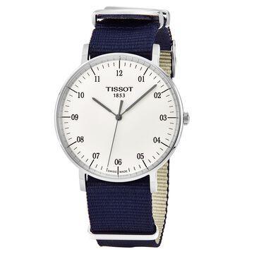 Tissot Men's T109.610.17.037.00 'Every time Big' Silver Dial Blue Fabric Strap Swiss Quartz Watch