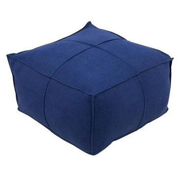 Surya Solid Linen Square Pouf Ottoman, Navy