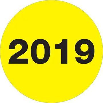 Tape Logic Labels, 2019 Year, 3 Circle, Fluorescent Yellow, 500/Roll (DL6819) | Quill