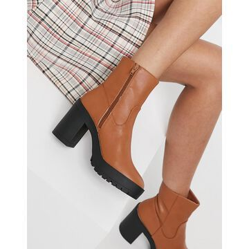 London Rebel chunky platform ankle boots in tan