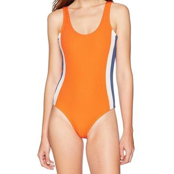 RVCA Orange Womens Size Small S Colorblocked One-Piece Swimsuit