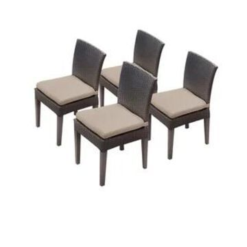 TK Classics Belle Wicker/Aluminum Armless Dining Chairs (Set of 4)