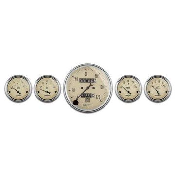 AutoMeter 1808 Antique Beige Street Rod Kit; Beige Dial Face; Black Pointer; White Incandescent Lighting; 120 MPH/100 PSI/100-250 Degree F/8-18V/240 OhmsE-33 OhmsF; Mechanical Speedo;