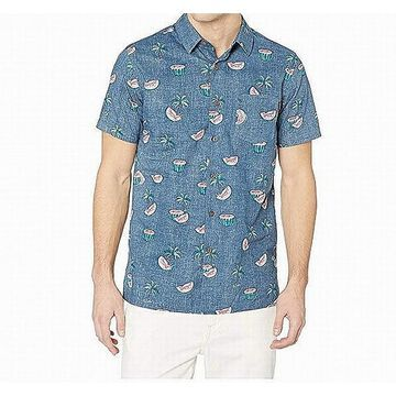Rip Curl Mens Shirt Blue Size Large L Button Front Stretch Watermelon