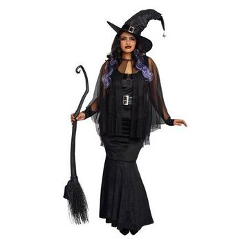 Dreamgirl Women's Plus-Size Bewitching Beauty Velvet Witch Costume Gown