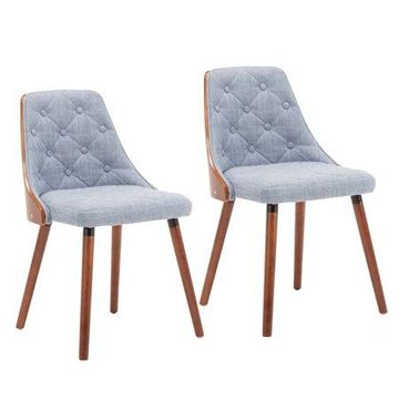 Porthos Homes Dining Chair With Diamond Tufted Design, Fabric Upholstery And Wooden Legs (Set of 2,Mid-century Style, Various Colors)