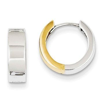 Versil 14k Two-tone Gold Hinged Hoop Earrings