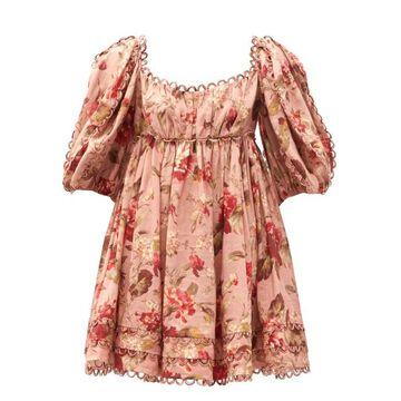 Zimmermann - Cassia Puff-sleeve Floral-print Voile Mini Dress - Womens - Pink Print