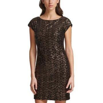 Eliza J Sequin Velvet Sheath Dress