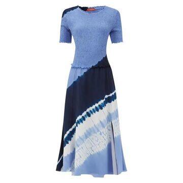 Altuzarra - Ayumi Shirred Shibori-dyed Silk Midi Dress - Womens - Blue Print