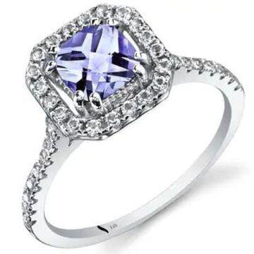 Oravo 14k White Gold Cushion Gemstone Halo Ring (Purple - Tanzanite - 9)
