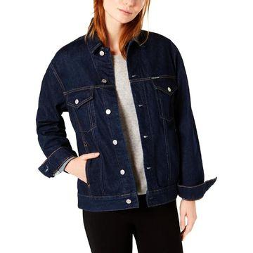 Calvin Klein Jeans Womens Denim Jacket Dark Wash Trucker