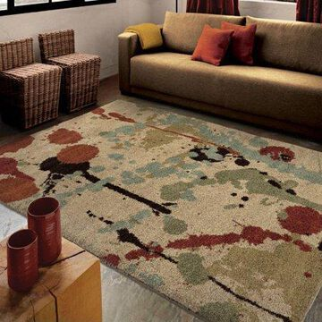 Orian Rugs Plush Abstract Splash Course Multi Area Rug