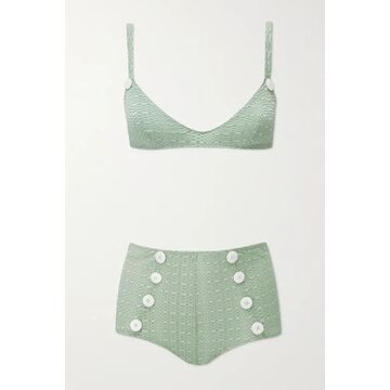 Lisa Marie Fernandez - Magdalena Button-embellished Seersucker Bikini - Green