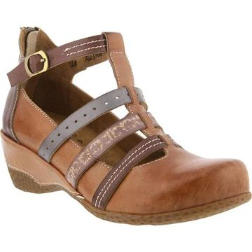 L'Artiste by Spring Step Women's Yulianna T-Strap Tan Leather