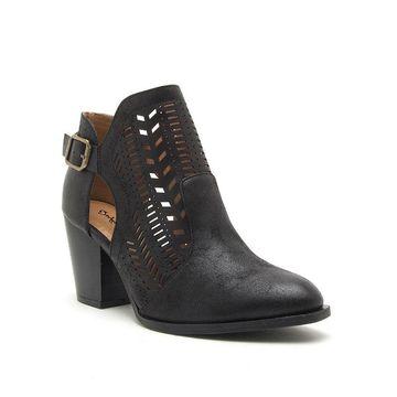 Qupid Womens Prenton 86x Stacked Heel Buckle Booties