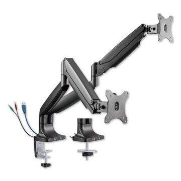 "Alera Adaptivergo Dual Monitor Arm With Usb, For 27"" Monitors, 180 Deg Rotation, 30 Deg Tilt, 135 Deg Pan, Black, Supports 11 Lb"