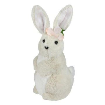 """11"""" Beige Plush Standing Easter Bunny Rabbit Girl Figure By Northlight 