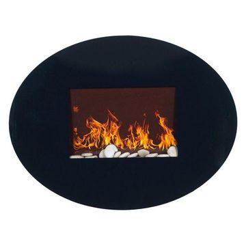 Black Oval Glass Electric Fireplace with Wall Mount by Northwest