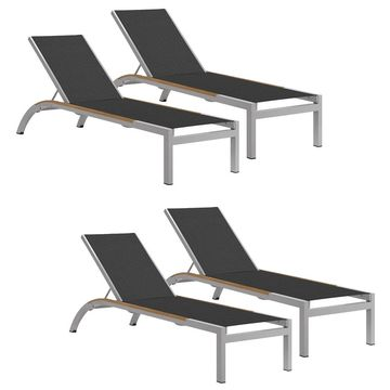 Oxford Garden Argento Armless Chaise Lounge with Tekwood Natural Side Rails - Ninja Sling(Set of 4) (Black)