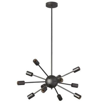 Dainolite 12 Light Satellite Chandelier, Matte Black
