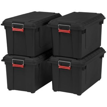 IRIS 4-Pack Weather Tight 20.5-Gallon (82-Quart) Black Tote with Latching Lid