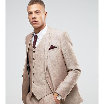 Heart & Dagger Skinny Suit Jacket In Linen-Beige