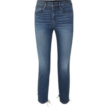 3x1 - W3 Cropped Distressed High-rise Skinny Jeans - Mid denim