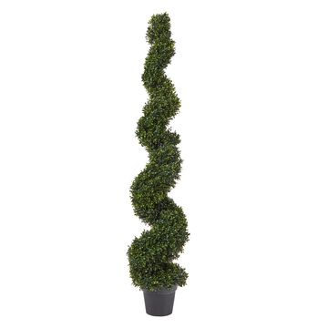 Pure Garden Faux Boxwood Realistic and Lifelike Plastic Spiral Topiary Arrangement and Weighted Pot 5'