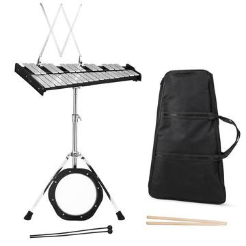 Costway 30 Notes Percussion Glockenspiel Bell Kit with Practice Pad Mallets Sticks Stand