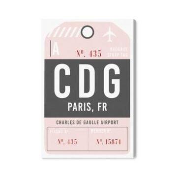 """Oliver Gal Paris Luggage Tag Canvas Art - 24"""" x 16"""" x 1.5"""""""