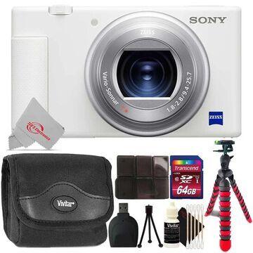 Sony ZV-1 Digital Camera (White) + Mega Kit (White)