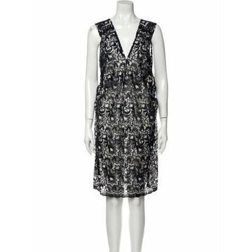 Lace Pattern Knee-Length Dress Blue