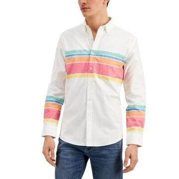 Club Room Men's Regular-Fit Colorblocked Stripe Oxford Shirt, Created for Macy's