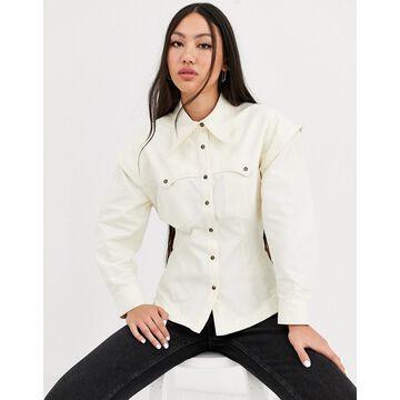 ASOS WHITE twill utility shirt-Cream