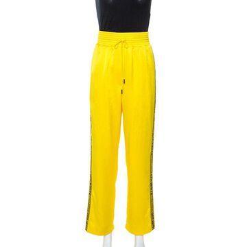 Off-White Yellow Crepe Logo Panel Drawstring Waist Detail Track Pants M
