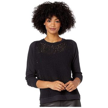 Majestic Filatures Lace Long Sleeve Pullover Top (Marine) Women's Blouse