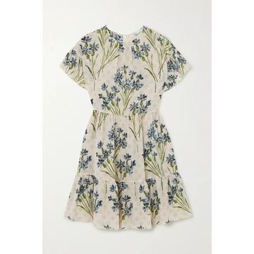 REDValentino - Tiered Floral-print Silk Crepe De Chine Mini Dress - Beige