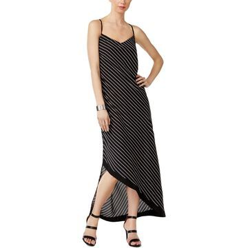 NY Collection Womens Asymmetrical Striped Maxi Dress