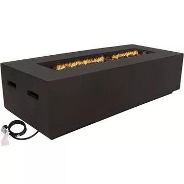 Sunnydaze Liquid Propane Fire Pit Rectangular Coffee Table in Brown