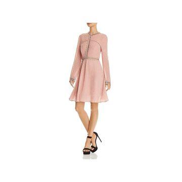 Bardot Womens Cherie Party Dress Lace Trim Long Sleeves