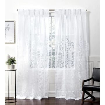 ATI Home Wilshire Burnout Sheer Pinch Pleat Curtain Panel Pair