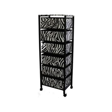 ORE International 6 Compartment 6 Drawers Wheeled Metal Cart