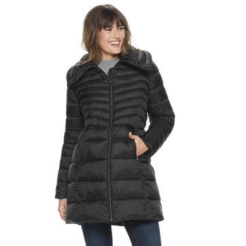 Women's Ellen Tracy Long Channeled Quilt Puffer Jacket